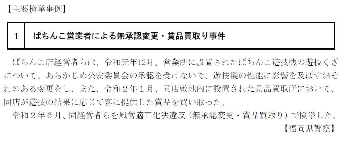 ぱちんこ営業者による無承認変更・賞品買取り事件
