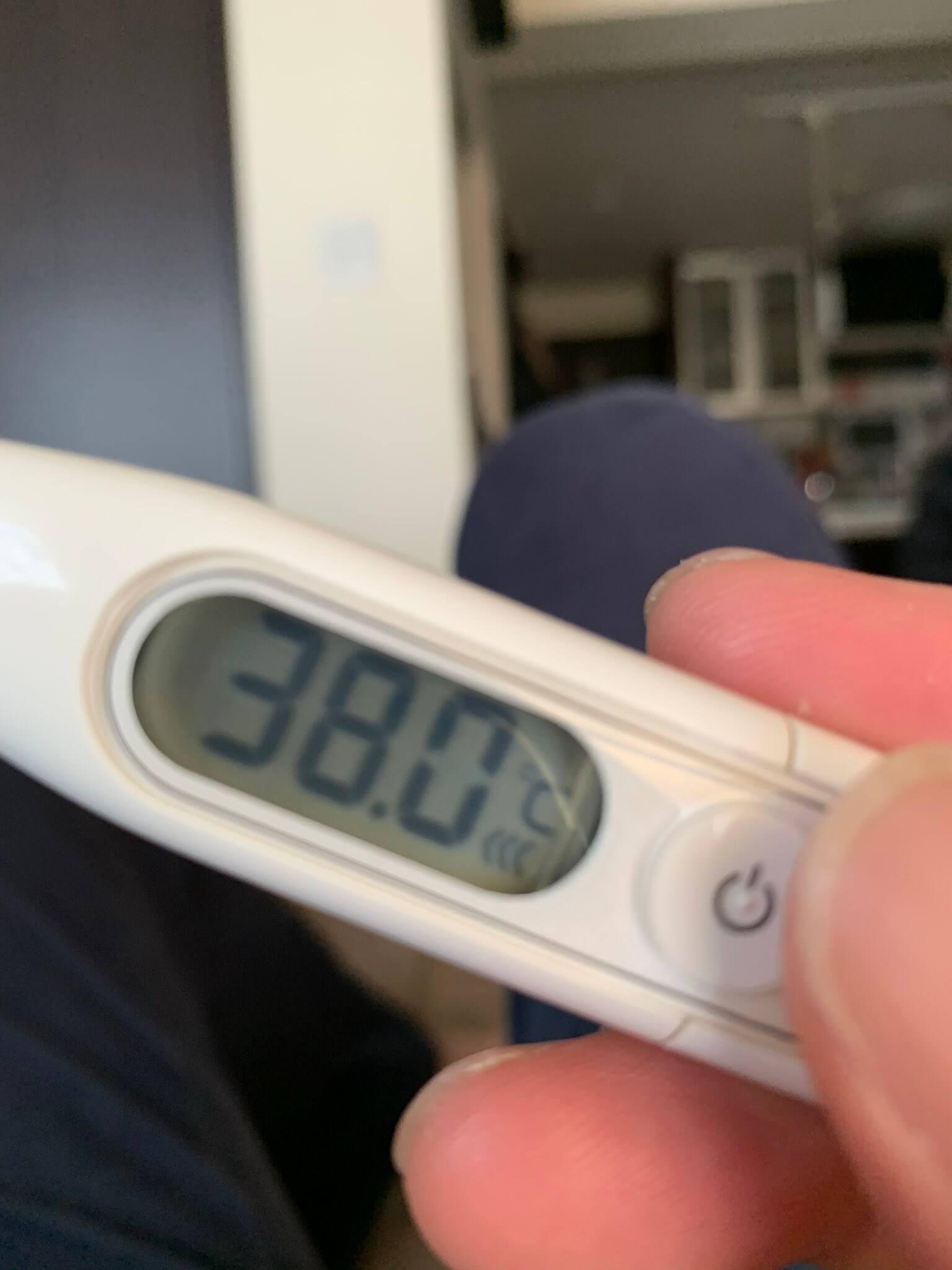 38度の熱を出した